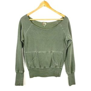 Joie Sweatshirt Top Long Sleeve XS Khaki Green